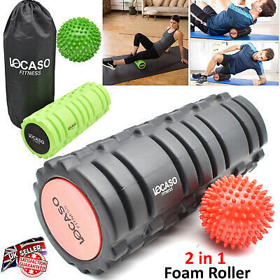 2 in 1 Foam Roller Deep Tissue Exercise Trigger Point Grid Massage Ball Physio