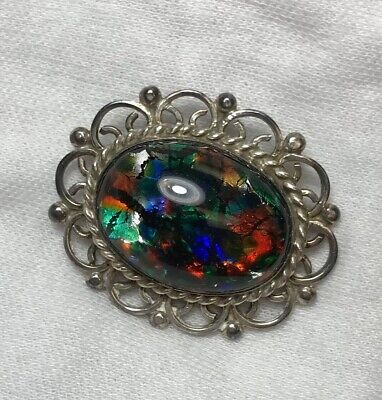 Vintage Mexico GFIS Sterling Silver 925 Dichroic Glass Pin/Brooch