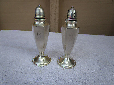 STERLING SILVER SET OF TWO SALT AND PEPPER SHAKERS HGS CO cement filled