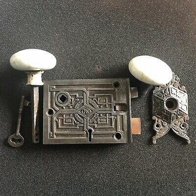 Antique Russell and Erwin Rim Lock W/ Knobs, Rosette, and Key 1869
