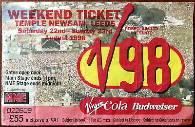 V Festival V98 Temple Newsham Leeds Weekend Ticket 1998 Ticket Stub