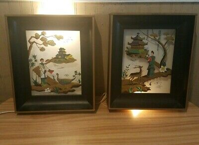 Vintage Pair of Asian Metal Shadow Box Lighted Reverse Painted Glass Chinese Art