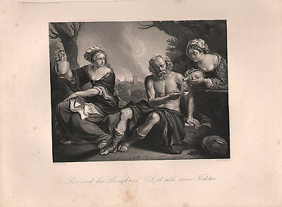 1850 Print ~ Lot And His Daughters ~ Guercino Del Cento