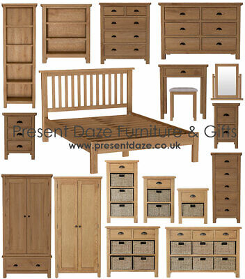 Richmond Rustic Oak Bedroom Furniture with Cup Handles - Pre-assembled