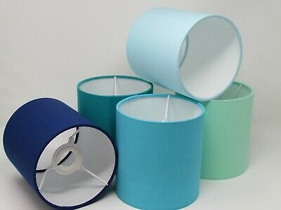 Teal Pale Blue Turquoise Mint Indigo Fabric Drum Lampshade Ceiling Pendant Shade