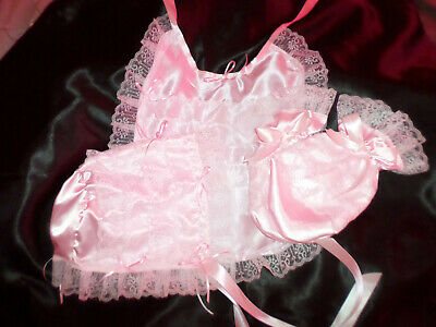 Adult Baby Sissy Pink  Bonnet + Mittens + Bib White Frilly Lace Trim Satin Ties