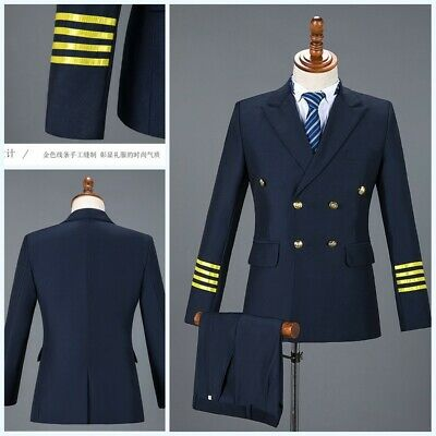 Mens Blazer jackets Suits Pants Flight attendant Air Captain Uniform Cosplay New