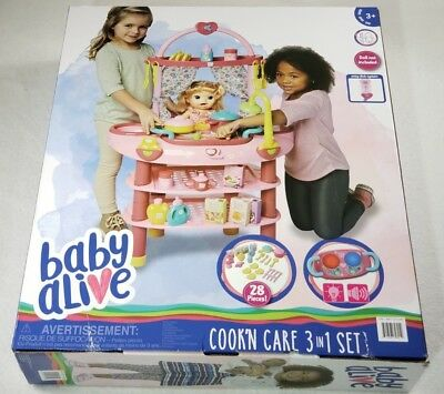 NEW! Kids' Baby Alive Doll 3 in 1 Cook 'n Care Play Set (Doll Not Included)