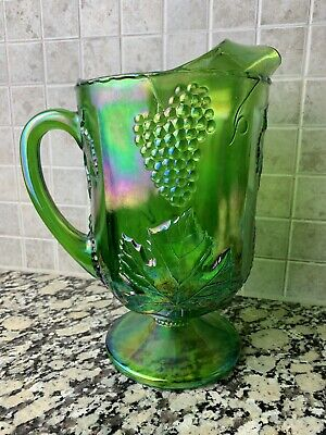 VTG Indiana Carnival Green Iridescent Glass Water Pitcher Grape Harvest 🍇Vines