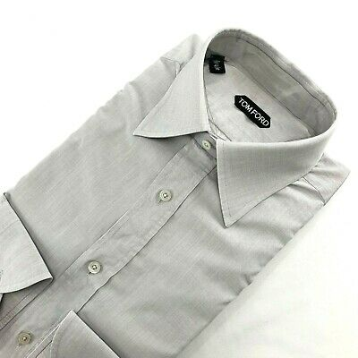 TOM FORD Men Dress Shirt Grey Solid Gray Cotton Button Cuff 16 / 41 Large Italy