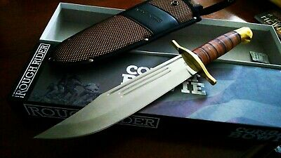 """Rough Rider Leatherneck Marines Bowie Hunter Combat Knife 1718 15 1/4"""" OA New"""