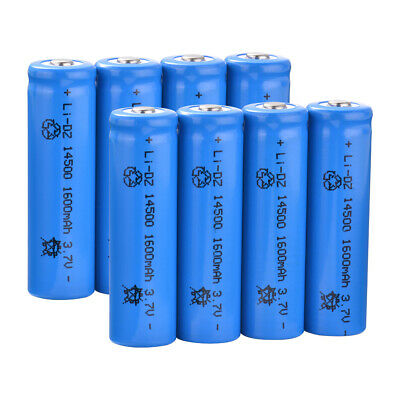 4/8Pcs 14500 AA 1600mah 3.7 Rechargeable Lithium Battery for Led Flashlight