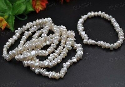wholesale 10 Qty 6-7mm Natural Baroque pearl Bracelets elastic style