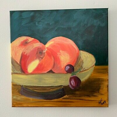 "Original Artwork Acrylic Paint on Canvas ""Sweet Things"" Peaches 12x12"" signed"