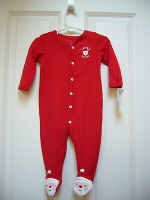 814b0121f New Carters Infant Baby Santa's Helper One Piece Sleeper Footed Red Sz 9 mo  NWT