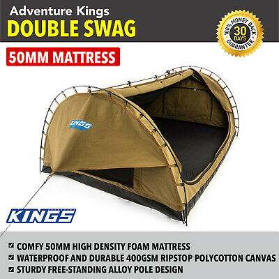 New Camping Double Swag Big Daddy Dome Tent Canvas Camping 4WD Kings Hiking
