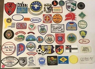 Vtg Lot Of 50 Patches Int'l Sports Military Company Ad Flag Patch