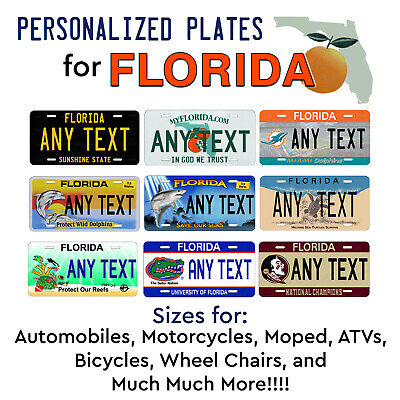 FLORIDA Personalized Custom License Plate Tag for Auto Car Bicycle ATV Bike etc