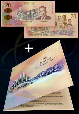 SINGAPORE 20 Dollars 2019 Bicentennial Commemorative w/Folder UNC Uncirculated