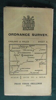 Vintage 1913 Ordnance Survey England & Wales Map, 1/4 inch to A Mile, Sheet #6