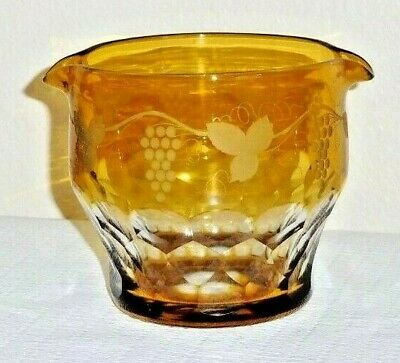 Antique Victorian Era Wine Rinser Amber & Crystal with Grape Leaf Pattern