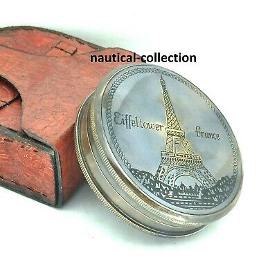 """Antique brass """"Eiffeltower France"""" Directional Compass with Leather case"""