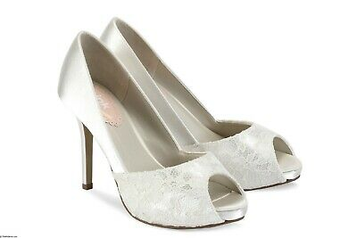 Pink Paradox Fancy  Ivory Satin and Lace Wedding Shoes;2 SIZES