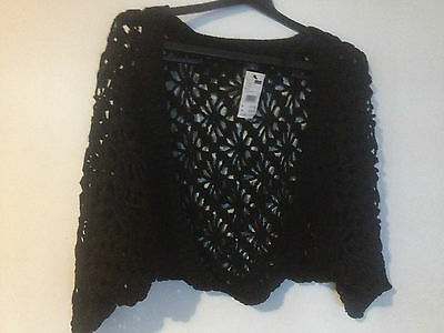 PATCH MATERNITY FOLKLORE CROCHET SHRUG WITH KNIT TRIM BNWT SZ M (f9) free post
