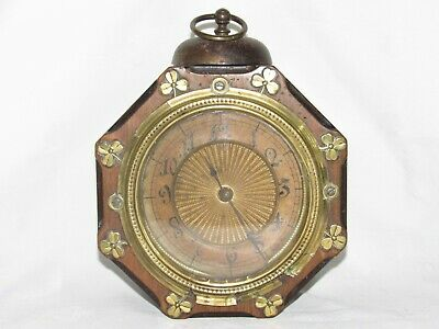 06F1 Antique Alarm with Jingle Bells Festive Wooden Mechanical Clock Junghans