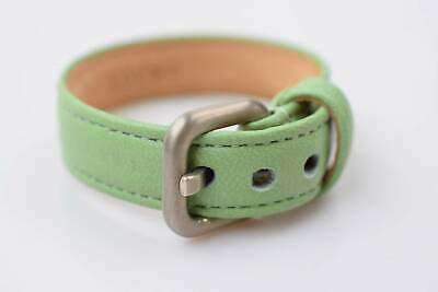 Authentic Loewe Bracelet Green X Silver  Cowhide Leather  800758