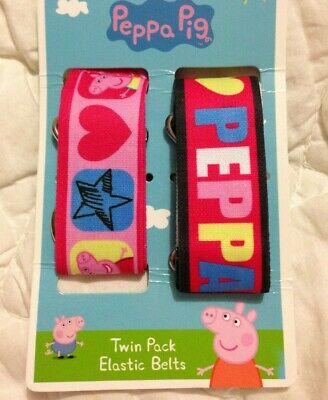 PEPPA PIG TWIN PACK ELASTIC BELTS BNWT FREE POSTAGE (, Acc4 To24