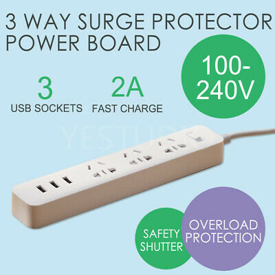 Power Board Surge Protector With 3 USB Ports 3 Way Socket Outlets Strip Charger