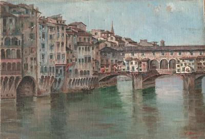 PONTE VECCHIO FLORENCE ITALY Oil Painting SIGNED c1940 ITALIAN ART