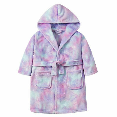 Girls Sherbet Ombre Dressing Gown Robe Plush Mermaid Colourful Kids Soft Fluffy