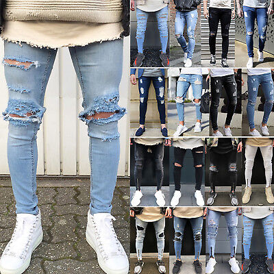 Mens Stretchy Jeans Ripped Skinny Biker Distressed Frayed Denim Pants Trousers