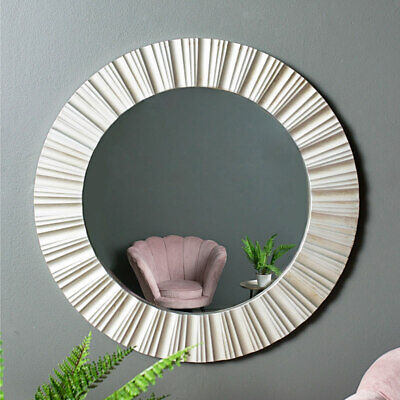 Silver round wall mirror ribbed design antique style contemporary display circle