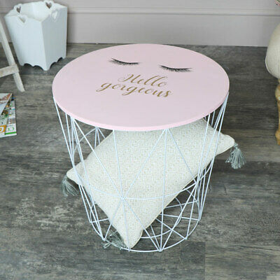 Pink white wire metal basket storage table side end girly eyelash bedroom gift