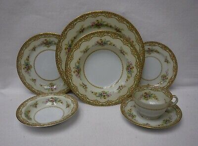 NORITAKE china SHERWOOD 4903 pattern 7-piece Place Setting w/ Fruit & Soup Bowls