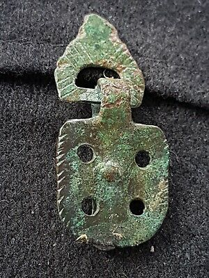 Ancient Saxon decorated bronze pendant/amulet beautiful ancient artifact L51i