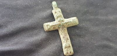 Super Post Medieval copper alloy Crucifix. Uncleaned intact Condition. L111v