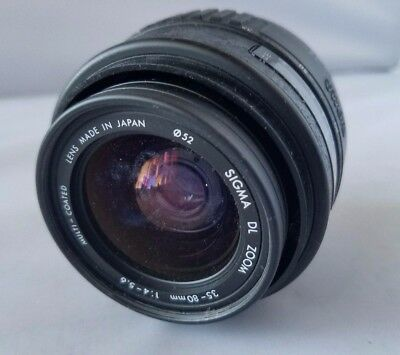 Sigma DL Zoom Camera Lens 35 -80 mm 1:4-5.6 Multi Coated Made Japan Auto Focus