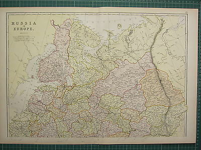 1882 Large Antique Map ~ Russia In Europe Finland Kostroma Moscow Penza