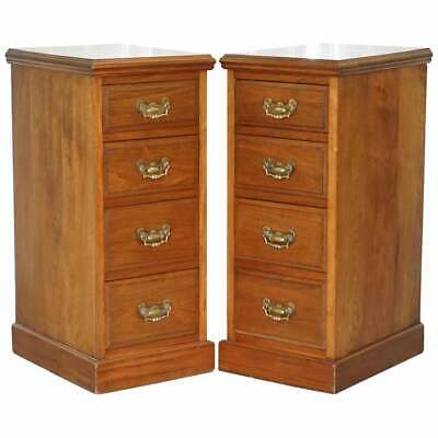 Pair Of Tall Victorian Walnut Chest Of Drawers. Lamp Wine Occasional End Tables