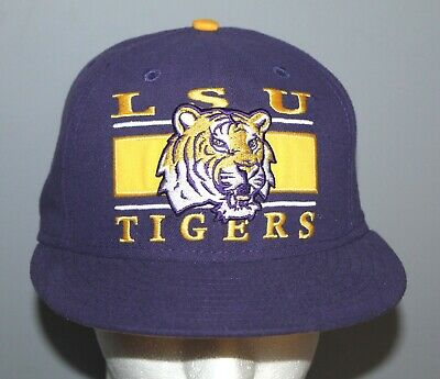 buy online 28fd6 89a6a New Era 59FIFTY LSU Tigers Purple Fitted Hat Cap Size 7 1 4 Polyester EUC