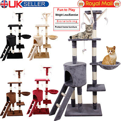 Cat Tree Scratching Post Sisal Covered Platform Dangling Toys Activity Center UK
