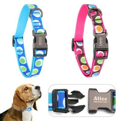 Metal Buckle Nylon & spot fabric dog collar, personalised engraved custom pet ID