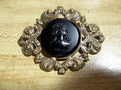 """3"""" antique stamped brass sash pin brooch, molded glass cameo, mourning Victorian"""