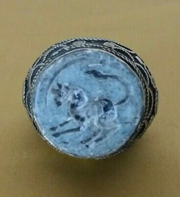 Middle Eastern Medieval Style Intaglio Signet Ring Old Arabic Islamic 9.25 US