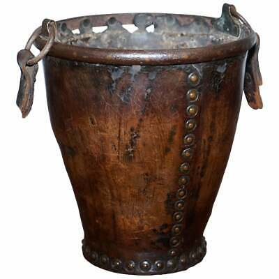 Very Rare Circa 1740 Leather And Iron Bound Fire Or Pete Bucket Original Handle