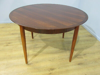 Mid Century Retro 60'S Lubke Round Rosewood Single Leaf Dining Table